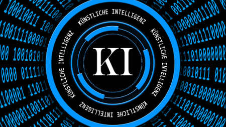 AI - abstract Artificial Intelligence (in german KI - Kuenstliche Intellektiven) background in blue - binary code arranged in cylinder shape - white lettering around HUD elements - 3D illustration