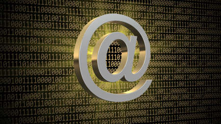 Abstract binary code background - at sign in light effects - internet or information technology - 3D illustration 版權商用圖片