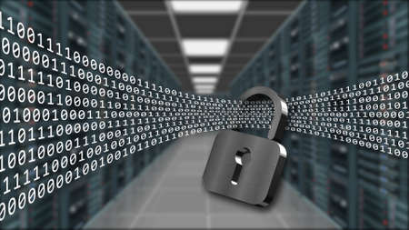 Digital data stream flows through closed padlock - series of binary code on blurred data server room background - internet security and data protection concept - 3D illustration Stock fotó