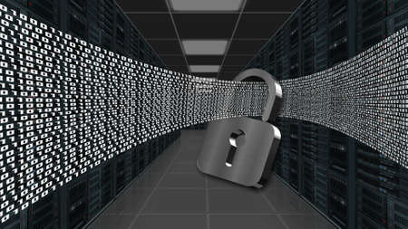 Digital data stream flows through closed padlock - series of binary code on data server room background - internet security and data protection concept - 3D illustration Stock fotó