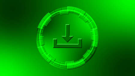 Download symbol in center of circular elements in green color - data storage business technology network concept - 3D illustration