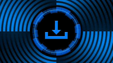 Download symbol in center of circular lines in blue color - data storage business technology network concept - 3D illustration