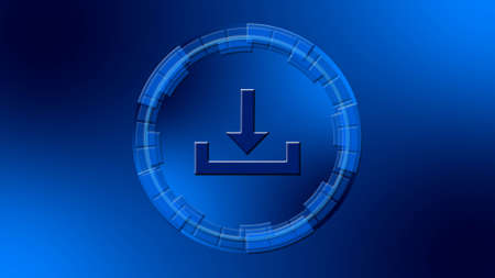 Download symbol in center of circular elements in blue color - data storage business technology network concept - 3D illustration Stock fotó
