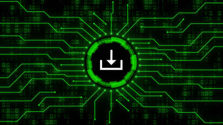 Download symbol centered into information connecting lines on blurred binary code background - data storage business technology network concept in green color - 3D illustration Stock fotó