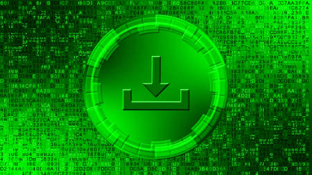 Download symbol in center of circular elements on digital background - graphic elements in green color - data storage business technology network concept - 3D illustration