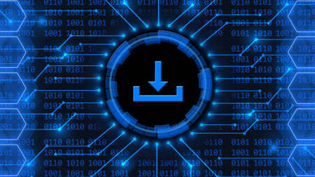 DOWNLOAD symbol - abstract background of 4-digit binary code behind information connecting lines between honeycomb elements - data storage business technology network concept - 3D illustration