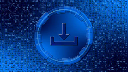 Download symbol in center of circular elements on digital background - graphic elements in blue color - data storage business technology network concept - 3D illustration Stock fotó