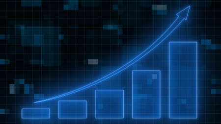 Financial graph background - abstract stock market charts on financial data view - business growth bar graph - 3D illustration Stock fotó