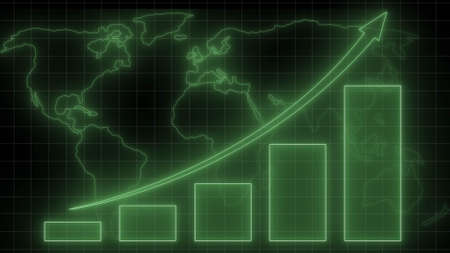 Financial graph on blurred world map background - abstract stock market charts on financial data view - business growth bar graph - 3D illustration Stock fotó