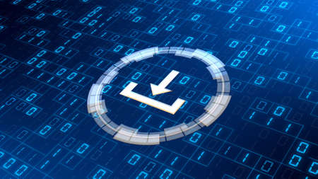 DOWNLOAD symbol on abstract binary code background divided with random square frame elements - data storage business technology network concept - 3D illustration