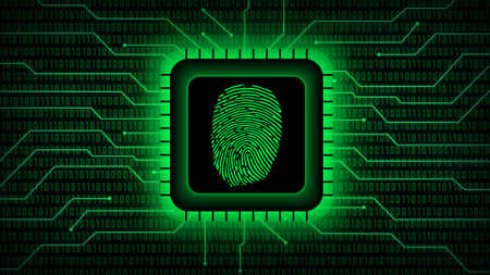 Fingerprint logo on chip sensor - abstract background in green of blurred binary code behind information connecting lines - security scanning identification concept by biometric authorization