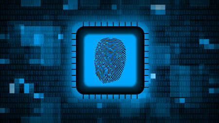 Fingerprint logo on chip sensor - abstract background in blue of blurred binary code - security scanning identification concept by biometric authorization - 3D illustration