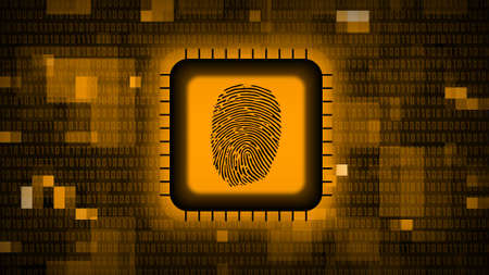 Fingerprint logo on chip sensor - abstract background in orange of blurred binary code - security scanning identification concept by biometric authorization - 3D illustration
