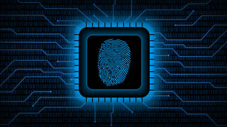 Fingerprint logo on chip sensor - abstract background in blue of blurred binary code behind information connecting lines - security scanning identification concept by biometric authorization