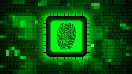 Fingerprint logo on chip sensor - abstract background in green of blurred binary code - security scanning identification concept by biometric authorization - 3D illustration