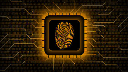 Fingerprint logo on chip sensor - abstract background in orange of blurred binary code behind information connecting lines - security scanning identification concept by biometric authorization