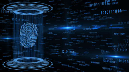 Abstract 3D graphic illustration on blue digital background - shining light beam in cylinder shape with floating fingerprint between circular HUD elements - security scanning identification concept Stock fotó
