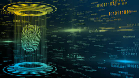 Abstract 3D graphic illustration on multicolor digital background - shining light beam in cylinder shape with floating fingerprint between circular HUD elements - security scanning identification