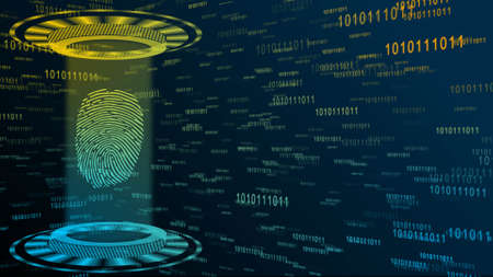 Abstract 3D graphic illustration on multicolor digital background - shining light beam in cylinder shape with floating fingerprint inside circular HUD elements - security scanning identification