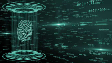 Abstract 3D graphic illustration on turquoise digital background - shining light beam in cylinder shape with floating fingerprint between circular HUD elements - security scanning identification
