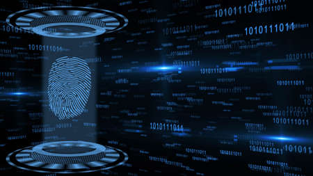 Abstract 3D graphic illustration on blue digital background - shining light beam in cylinder shape with floating fingerprint inside circular HUD elements - security scanning identification concept