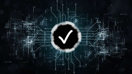 OK symbol centered into HUD elements between information connecting lines on dark background - quality control information technology concept - 3D illustration Stock fotó