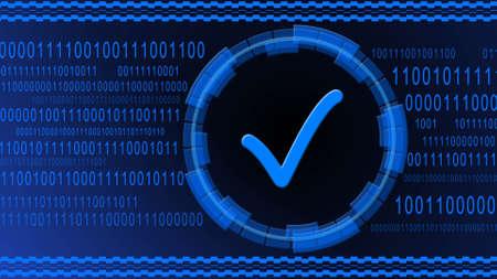 OK symbol centered into HUD elements on binary code background - blue banner design - quality control information technology concept - 3D illustration