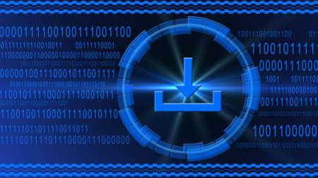 Download symbol centered into HUD elements on binary code background - blue banner design - data internet technology network concept - 3D illustration