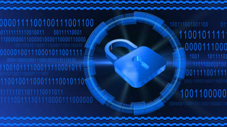 Padlock centered into HUD elements on binary code background - blue banner design - security and information technology concept - 3D illustration Stock fotó