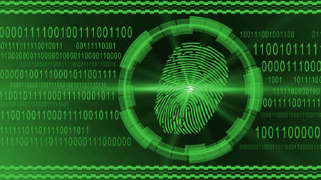Fingerprint centered into HUD elements on binary code background - green banner design - security scanning identification concept by biometric authorization - 3D illustration Stock fotó