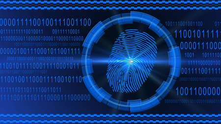 Fingerprint centered into HUD elements on binary code background - blue banner design - security scanning identification concept by biometric authorization - 3D illustration