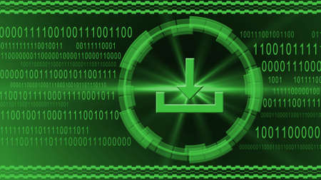 Download symbol centered into HUD elements on binary code background - green banner design - data internet technology network concept - 3D illustration