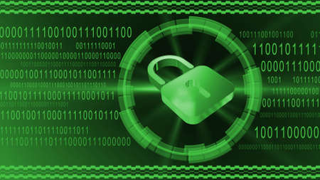 Padlock centered into HUD elements on binary code background - green banner design - security and information technology concept - 3D illustration