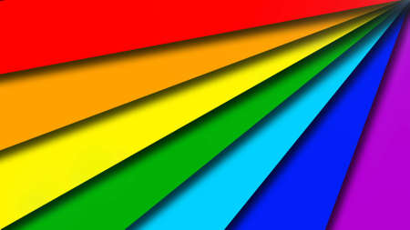 Abstract background of graphic elements in rainbow colors - arranged in fan design - 3D illustration