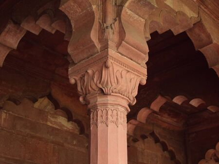A Pillar showcasing Mughal Architecture inside Red Fort in Delhi, India photo