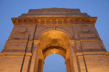 india gate: View of India Gate from below the memorial.