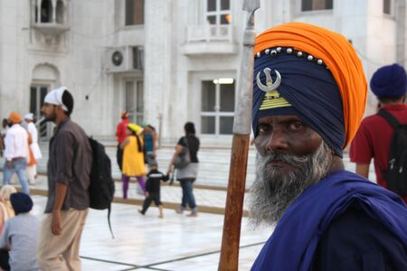 gurudwara: A Nihang Sikh at Gurudwara Bangla Sahib in New Delhi, India