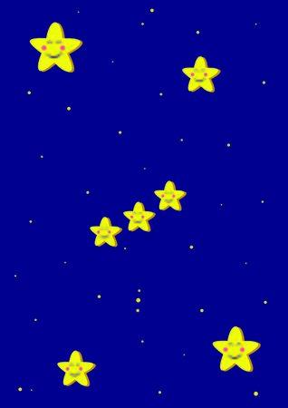 Rappresentazione toon della costellazione di Orione.