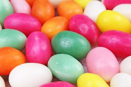 Easter candy. Egg shaped sugar candy for easter season. Stock Photo