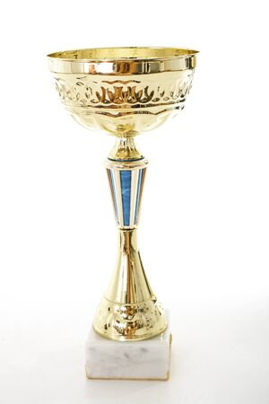 Trophy isolated with white background. Winner award of Champion. Gold trophy victory succes prize. Stock Photo
