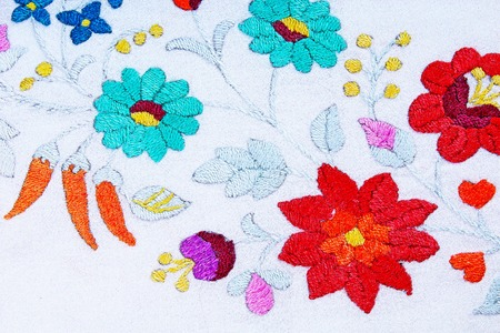 Embroidery. Hand work hobby handwork patchwork closeup photo.