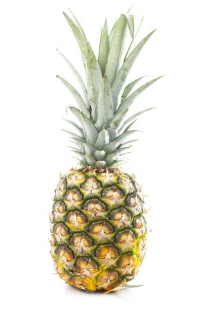Whole pineapple. Pineapple in white studio background. Sweet delicious mellow tropical fruit. Full whole yellow pineapple.