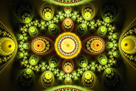 Geometric fractal shape can illustrate daydreaming imagination psychedelic space dreams magic nuclear explosion frequency patterns radiation concepts. Stock Photo