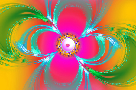 Geometric fractal shape can illustrate daydreaming imagination psychedelic space universe galaxy dreams magic nuclear explosion frequency patterns radiation concepts. Stock Photo