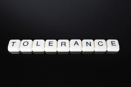 Tolerance text word title caption label cover backdrop background. Alphabet letter toy blocks on black reflective background. White alphabetical letters. White educational toy block with words on mirror board table. Banco de Imagens