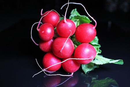on black reflective studio background. Isolated black shiny mirror mirrored background for every concept. Radishes.