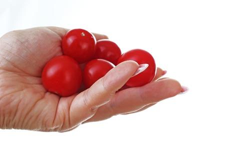 Mano della donna che tiene i mini pomodori sul fondo bianco isolato del ritaglio. Foto in studio con illuminazione da studio facile da usare per ogni concetto. Archivio Fotografico - 94995671