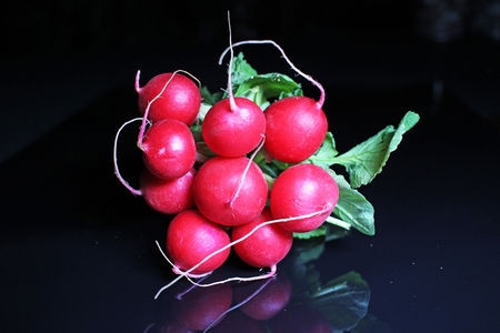 Red radish on black reflective studio background. Isolated black shiny mirror mirrored background for every concept...