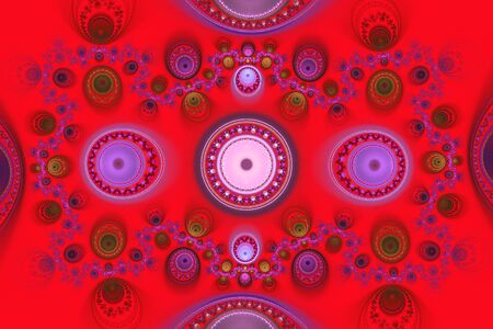 Red Orange Geometric fractal illustrate daydreaming imagination psychedelic space dreams magic nuclear explosion frequency patterns radiation concepts..
