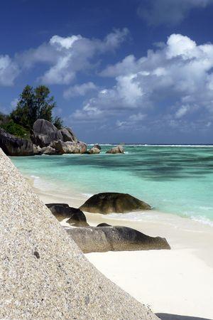 Beautiful granite rocks formation at tropical lagoon Anse Source dArgent, La Digue Island, Seychelles photo